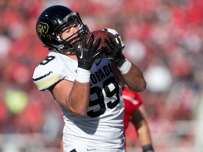 Nov 30, 2013; Salt Lake City, UT, USA; Colorado Buffaloes tight end Scott Fernandez (99) catches a touchdown pass during the second half against the Utah Utes at Rice-Eccles Stadium. Utah won 24-17. Mandatory Credit: Russ Isabella-USA TODAY Sports
