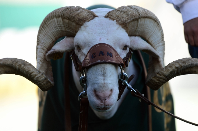 Nov 30, 2013; Fort Collins, CO, USA; Colorado State Rams mascot Cam the Ram during the game against the Air Force Falcons at Hughes Stadium. The Rams defeated the Falcons 58-13. Mandatory Credit: Ron Chenoy-USA TODAY Sports