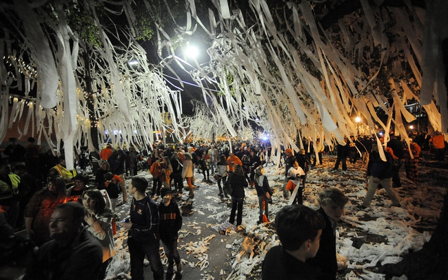 Nov 30, 2013; Auburn, AL, USA; General view of Toomer's Corner after the game between the Alabama Crimson Tide and the Auburn Tigers at Jordan Hare Stadium. The Tigers defeated the Crimson Tide 34-28. Mandatory Credit: Shanna Lockwood-USA TODAY Sports