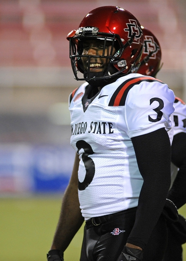Nov 30, 2013; Las Vegas, NV, USA; San Diego State Aztecs wide receiver Ezell Ruffin (3) looks on during warmups before an NCAA football game against the UNLV Rebels at Sam Boyd Stadium. Mandatory Credit: Stephen R. Sylvanie-USA TODAY Sports