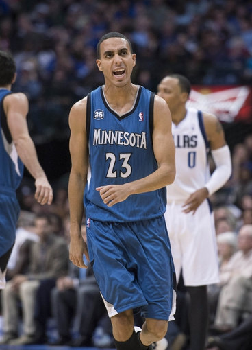 Nov 30, 2013; Dallas, TX, USA; Minnesota Timberwolves shooting guard Kevin Martin (23) celebrates making a basket against the Dallas Mavericks during the second half at the American Airlines Center. Martin leads his team in scoring with 27 points. The Timberwolves defeated the Mavericks 112-106. Mandatory Credit: Jerome Miron-USA TODAY Sports