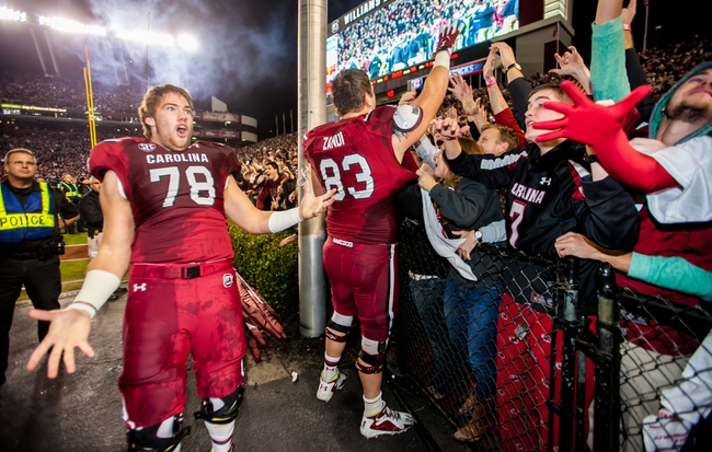 Nov 30, 2013; Columbia, SC, USA; South Carolina Gamecocks offensive tackle Cody Gibson (78) and South Carolina Gamecocks wide receiver Carlton Heard (83) celebrate with fans following their 31-17 win over the  Clemson Tigers at Williams-Brice Stadium. Mandatory Credit: Jeff Blake-USA TODAY Sports