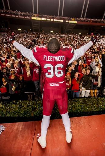 Nov 30, 2013; Columbia, SC, USA; South Carolina Gamecocks safety Kyle Fleetwood (36) celebrate following their 31-17 win over the Clemson Tigers at Williams-Brice Stadium. Mandatory Credit: Jeff Blake-USA TODAY Sports