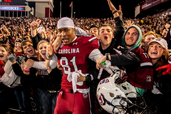 Nov 30, 2013; Columbia, SC, USA; South Carolina Gamecocks tight end Rory Anderson (81) celebrates with fans following their 31-17 win over the Clemson Tigers at Williams-Brice Stadium. Mandatory Credit: Jeff Blake-USA TODAY Sports