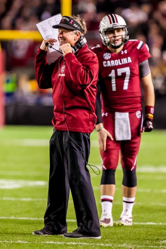 Nov 30, 2013; Columbia, SC, USA; South Carolina Gamecocks head coach Steve Spurrier disputes a call against the Clemson Tigers in the second quarter at Williams-Brice Stadium. Mandatory Credit: Jeff Blake-USA TODAY Sports