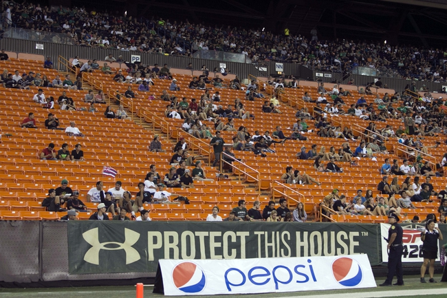 Nov 30, 2013; Honolulu, HI, USA; A general view of empty seats at Aloha Stadium during the game between the Army Black Knights and Hawaii Warriors. Mandatory Credit: Marco Garcia-USA TODAY Sports
