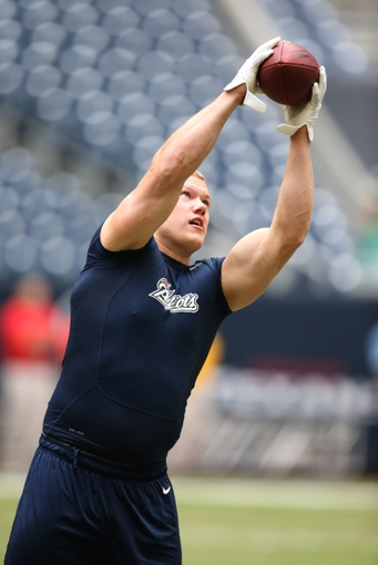 Dec 1, 2013; Houston, TX, USA; New England Patriots tight end Matthew Mulligan (88) prior to the game against the Houston Texans at Reliant Stadium. Mandatory Credit: Matthew Emmons-USA TODAY Sports