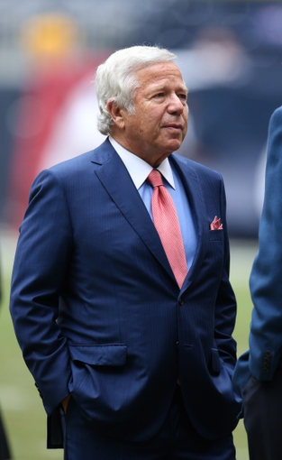 Dec 1, 2013; Houston, TX, USA; New England Patriots owner Robert Kraft on the field prior to the game against the Houston Texans at Reliant Stadium. Mandatory Credit: Matthew Emmons-USA TODAY Sports