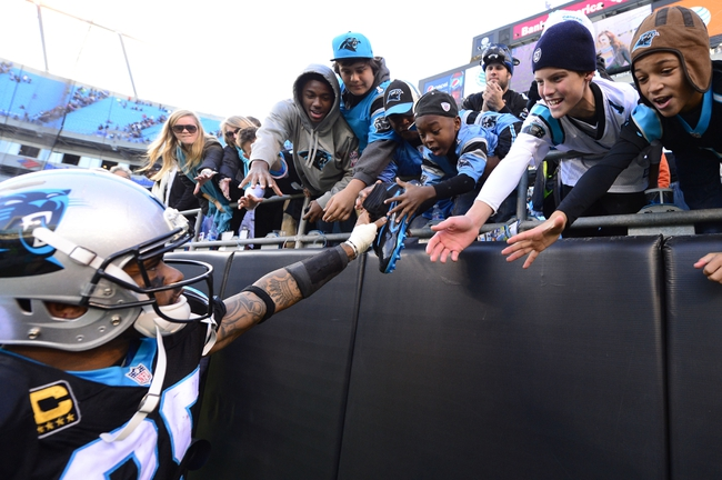 Dec 1, 2013; Charlotte, NC, USA; Carolina Panthers wide receiver Steve Smith (89) gives his shoes to a fan after the game. The Carolina Panthers defeated the Tampa Bay Buccaneers 27-6 at Bank of America Stadium. Mandatory Credit: Bob Donnan-USA TODAY Sports