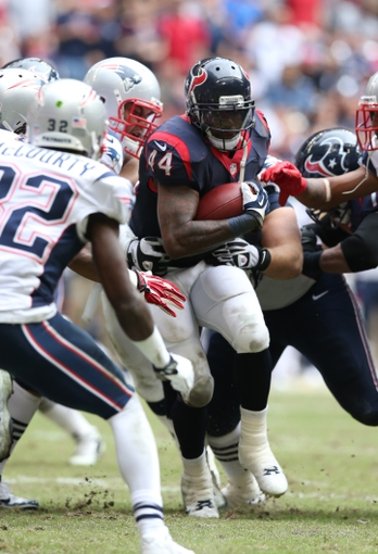 Dec 1, 2013; Houston, TX, USA; Houston Texans running back Ben Tate (44) runs with the ball in the fourth quarter against the New England Patriots at Reliant Stadium. The Patriots beat the Texans 34-31. Mandatory Credit: Matthew Emmons-USA TODAY Sports