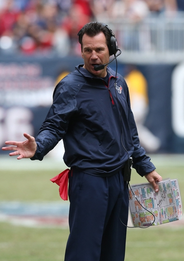 Dec 1, 2013; Houston, TX, USA; Houston Texans head coach Gary Kubiak reacts after having to call timeout in the fourth quarter against the New England Patriots at Reliant Stadium. The Patriots beat the Texans 34-31. Mandatory Credit: Matthew Emmons-USA TODAY Sports