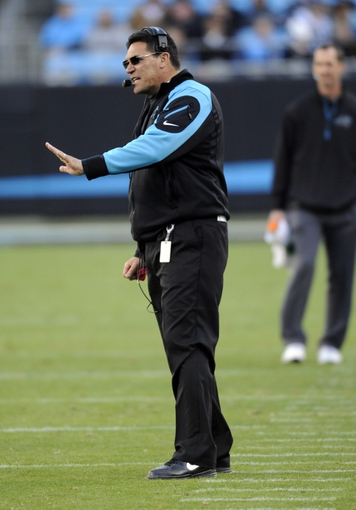 Dec 1, 2013; Charlotte, NC, USA; Carolina Panthers head coach Ron Rivera during the second half of the game against the Tampa Bay Buccaneers at Bank of America Stadium. Carolina wins 27-6. Mandatory Credit: Sam Sharpe-USA TODAY Sports