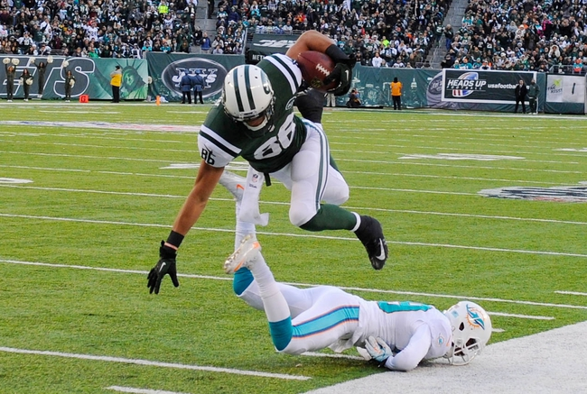 Dec 1, 2013; East Rutherford, NJ, USA; New York Jets wide receiver David Nelson (86) leaps over Miami Dolphins cornerback Will Davis (29) during the game at MetLife Stadium. Mandatory Credit: Robert Deutsch-USA TODAY Sports