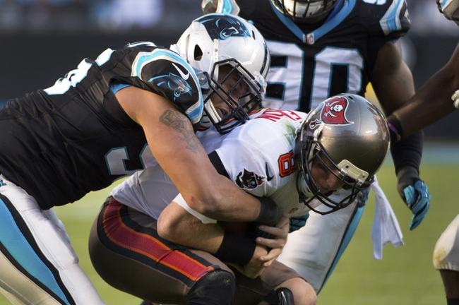 Dec 1, 2013; Charlotte, NC, USA; Carolina Panthers defensive end Wes Horton (96) sacks Tampa Bay Buccaneers quarterback Mike Glennon (8) in the fourth quarter. The Carolina Panthers defeated the Tampa Bay Buccaneers 27-6 at Bank of America Stadium. Mandatory Credit: Bob Donnan-USA TODAY Sports