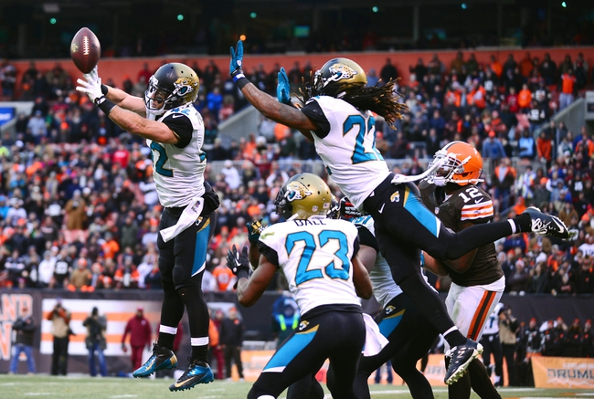 Dec 1, 2013; Cleveland, OH, USA; Jacksonville Jaguars free safety Chris Prosinski (42) knocks the ball away on a hail mary pass in the fourth quarter against the Cleveland Browns at FirstEnergy Stadium. Mandatory Credit: Andrew Weber-USA TODAY Sports