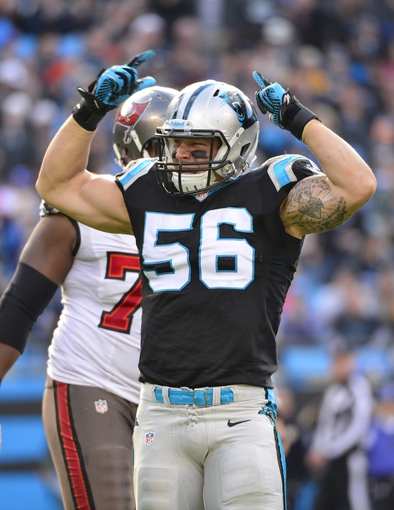 Dec 1, 2013; Charlotte, NC, USA; Carolina Panthers inside linebacker A.J. Klein (56) reacts in the third quarter. The Carolina Panthers defeated the Tampa Bay Buccaneers 27-6 at Bank of America Stadium. Mandatory Credit: Bob Donnan-USA TODAY Sports