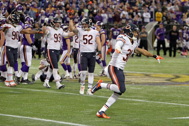 Dec 1, 2013; Minneapolis, MN, USA; The Chicago Bears celebrate a missed field goal during overtime against the Minnesota Vikings at Mall of America Field at H.H.H. Metrodome. The Vikings defeated the Bears 23-20 in overtime. Mandatory Credit: Brace Hemmelgarn-USA TODAY Sports