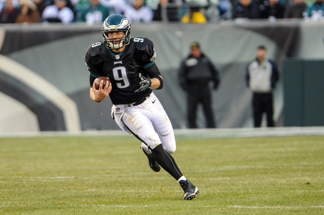Dec 1, 2013; Philadelphia, PA, USA;  Philadelphia Eagles quarterback Nick Foles (9) scrambles during the game against the Arizona Cardinals at Lincoln Financial Field. The Philadelphia Eagles won the game 24-21.  Mandatory Credit: John Geliebter-USA TODAY Sports