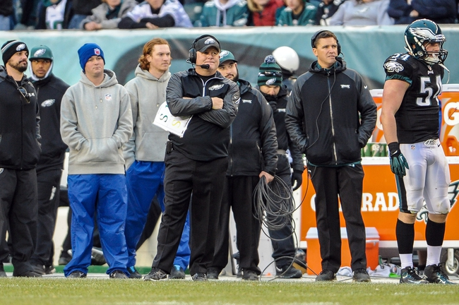 Dec 1, 2013; Philadelphia, PA, USA;  Philadelphia Eagles head coach Chip Kelly during the fourth quarter of the game at Lincoln Financial Field. The Philadelphia Eagles won the game 24-21.  Mandatory Credit: John Geliebter-USA TODAY Sports