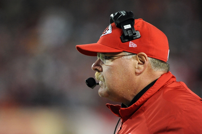 Dec 1, 2013; Kansas City, MO, USA; Kansas City Chiefs head coach Andy Reid watches play on the sidelines during the second half of the game against the Denver Broncos at Arrowhead Stadium. Denver won 35-28. Mandatory Credit: Denny Medley-USA TODAY Sports