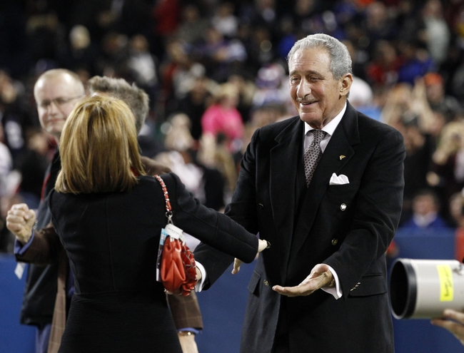 Dec 1, 2013; Toronto, ON, Canada; Atlanta Falcons owner Arthur Blank celebrates after his team beat the Buffalo Bills in overtime at the Rogers Center. Falcons beat the Bills 34-31. Mandatory Credit: Kevin Hoffman-USA TODAY Sports
