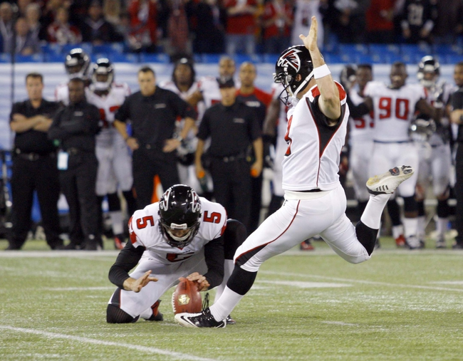 Dec 1, 2013; Toronto, ON, Canada; Atlanta Falcons kicker Matt Bryant (3) kicks the game winning field goal in overtime against the Buffalo Bills at the Rogers Center. Falcons beat the Bills 34 to 31 in overtime.  Mandatory Credit: Timothy T. Ludwig-USA TODAY Sports