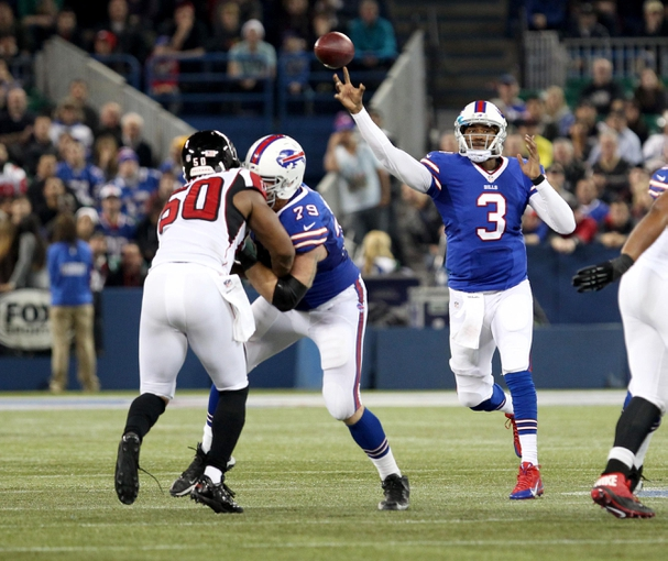 Dec 1, 2013; Toronto, ON, Canada; Buffalo Bills quarterback EJ Manuel (3) throws a pass during the second half against the Atlanta Falcons at the Rogers Center. Falcons beat the Bills 34 to 31 in overtime.  Mandatory Credit: Timothy T. Ludwig-USA TODAY Sports