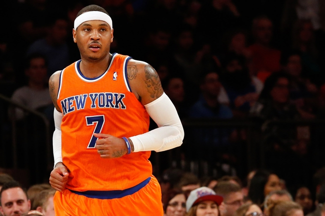 Dec 1, 2013; New York, NY, USA;  New York Knicks small forward Carmelo Anthony (7) during the third quarter against the New Orleans Pelicans at Madison Square Garden. New Orleans Pelicans won 103-99.  Mandatory Credit: Anthony Gruppuso-USA TODAY Sports
