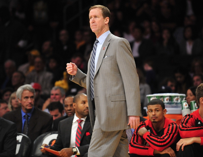 December 1, 2013; Los Angeles, CA, USA; Portland Trail Blazers head coach Terry Stotts watches game action against the Los Angeles Lakers during the first half at Staples Center. Mandatory Credit: Gary A. Vasquez-USA TODAY Sports