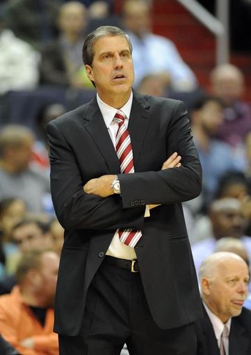 Dec 2, 2013; Washington, DC, USA; Washington Wizards head coach Randy Wittman watches against the Orlando Magic during the first half at the Verizon Center. Mandatory Credit: Brad Mills-USA TODAY Sports