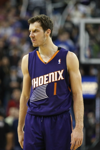 Nov 19, 2013; Sacramento, CA, USA; Phoenix Suns shooting guard Goran Dragic (1) after being called for a foul against the Sacramento Kings during the fourth quarter at Sleep Train Arena. The Sacramento Kings defeated the Phoenix Suns 107-104. Mandatory Credit: Kelley L Cox-USA TODAY Sports