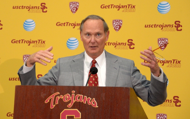 Dec 3, 2013; Los Angeles, CA, USA; Southern California Trojans athletic director Pat Haden speaks at a press conference to announce Steve Sarkisian as Southern California Trojans football coach at John McKay Center. Mandatory Credit: Kirby Lee-USA TODAY Sports