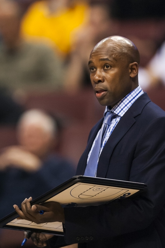 Dec 3, 2013; Philadelphia, PA, USA; Orlando Magic head coach Jacque Vaughn during the second overtime against the Philadelphia 76ers at the Wells Fargo Center. The Sixers defeated the Magic 126-125 in double overtime. Mandatory Credit: Howard Smith-USA TODAY Sports