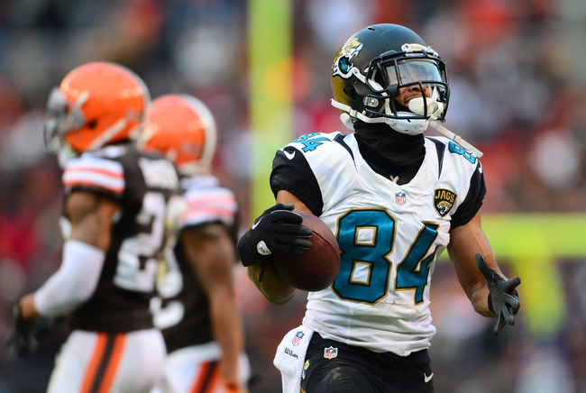 Dec 1, 2013; Cleveland, OH, USA; Jacksonville Jaguars wide receiver Cecil Shorts (84) against the Cleveland Browns at FirstEnergy Stadium. Mandatory Credit: Andrew Weber-USA TODAY Sports