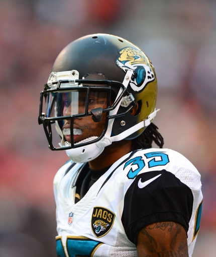 Dec 1, 2013; Cleveland, OH, USA; Jacksonville Jaguars cornerback Demetrius McCray (35) against the Cleveland Browns at FirstEnergy Stadium. Mandatory Credit: Andrew Weber-USA TODAY Sports
