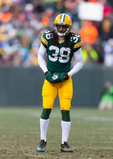 Nov 24, 2013; Green Bay, WI, USA; Green Bay Packers cornerback Tramon Williams (38) during the game against the Minnesota Vikings at Lambeau Field.  The Vikings and Packers tied 26-26.  Mandatory Credit: Jeff Hanisch-USA TODAY Sports