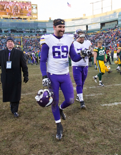 Nov 24, 2013; Green Bay, WI, USA; Minnesota Vikings defensive end Jared Allen (69) following the game against the Green Bay Packers at Lambeau Field.  The Vikings and Packers tied 26-26.  Mandatory Credit: Jeff Hanisch-USA TODAY Sports