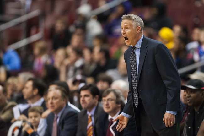 Dec 3, 2013; Philadelphia, PA, USA; Philadelphia 76ers head coach Brett Brown during overtime against the Orlando Magic at the Wells Fargo Center. The Sixers defeated the Magic 126-125 in double overtime. Mandatory Credit: Howard Smith-USA TODAY Sports