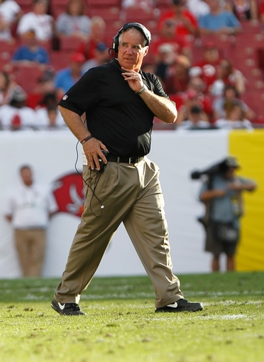 Nov 17, 2013; Tampa, FL, USA; Atlanta Falcons head coach Mike Smith against the Tampa Bay Buccaneers during the second half at Raymond James Stadium. Tampa Bay Buccaneers defeated the Atlanta Falcons 41-28. Mandatory Credit: Kim Klement-USA TODAY Sports