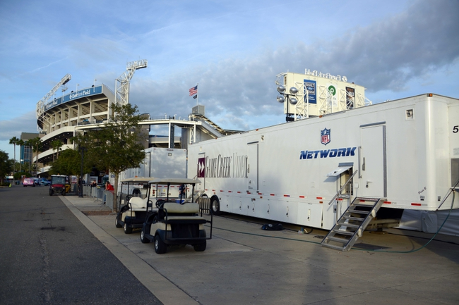 Dec 5, 2013; Jacksonville, FL, USA; General view of NFL Network television video production trucks at EverBank Field before the NFL game between the Houston Texans and the Jacksonville Jaguars. Mandatory Credit: Kirby Lee-USA TODAY Sports