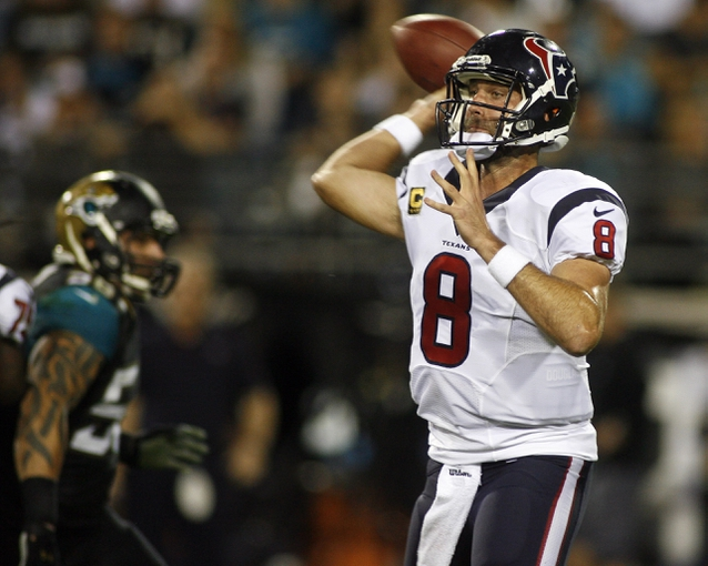 Dec 5, 2013; Jacksonville, FL, USA; Houston Texans quarterback Matt Schaub (8) throws a pass in the fourth quarter against the Jacksonville Jaguars at EverBank Field. The Jacksonville Jaguars best the Houston Texans 27-20. Mandatory Credit: Phil Sears-USA TODAY Sports