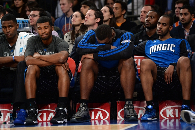 Dec 6, 2013; New York, NY, USA; The Orlando Magic bench reacts against the New York Knicks during the second half at Madison Square Garden. The Knicks won the game 121-83. Mandatory Credit: Joe Camporeale-USA TODAY Sports