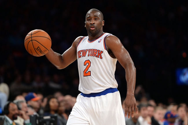 Dec 6, 2013; New York, NY, USA; New York Knicks point guard Raymond Felton (2) dribbles against the Orlando Magic during the second half at Madison Square Garden. The Knicks won the game 121-83. Mandatory Credit: Joe Camporeale-USA TODAY Sports