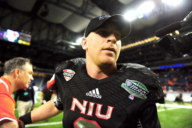 Dec 6, 2013; Detroit, MI, USA; Northern Illinois Huskies quarterback Jordan Lynch (6) leaves the field after being defeated by Bowling Green Falcons 47-27 at Ford Field. Mandatory Credit: Andrew Weber-USA TODAY Sports
