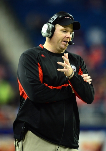 Dec 6, 2013; Detroit, MI, USA; Northern Illinois Huskies head coach Rod Carey]on the sidelines during the fourth quarter against the Bowling Green Falcons at Ford Field. Mandatory Credit: Andrew Weber-USA TODAY Sports