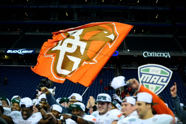 Dec 6, 2013; Detroit, MI, USA; Bowling Green Falcons flag waves after defeating Northern Illinois Huskies 47-27 to win the MAC Championship at Ford Field. Mandatory Credit: Andrew Weber-USA TODAY Sports