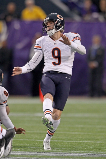 Dec 1, 2013; Minneapolis, MN, USA; Chicago Bears kicker Robbie Gould (9) against the Minnesota Vikings at Mall of America Field at H.H.H. Metrodome. The Vikings defeated the Bears 23-20 in overtime. Mandatory Credit: Brace Hemmelgarn-USA TODAY Sports