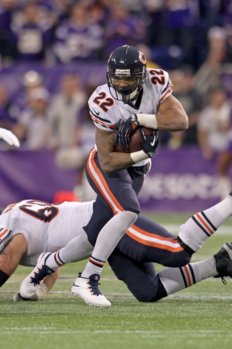 Dec 1, 2013; Minneapolis, MN, USA; Chicago Bears running back Matt Forte (22) against the Minnesota Vikings at Mall of America Field at H.H.H. Metrodome. The Vikings defeated the Bears 23-20 in overtime. Mandatory Credit: Brace Hemmelgarn-USA TODAY Sports