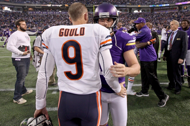 Dec 1, 2013; Minneapolis, MN, USA; Minnesota Vikings kicker Blair Walsh (3) and Chicago Bears kicker Robbie Gould (9) at Mall of America Field at H.H.H. Metrodome. The Vikings defeated the Bears 23-20 in overtime. Mandatory Credit: Brace Hemmelgarn-USA TODAY Sports