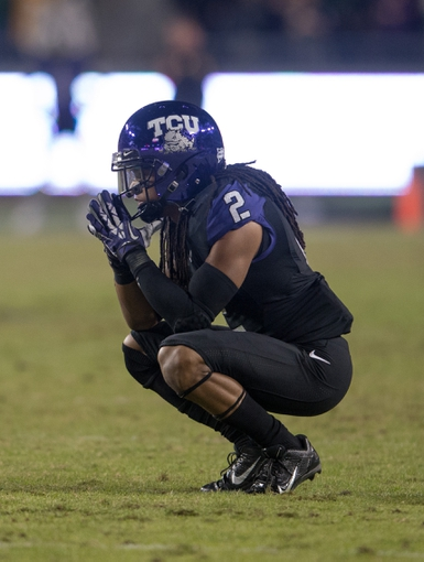Nov 30, 2013; Fort Worth, TX, USA; TCU Horned Frogs cornerback Jason Verrett (2) reacts to the loss against the Baylor Bears at Amon G. Carter Stadium. The Bears defeated the Horned Frogs 41-38. Mandatory Credit: Jerome Miron-USA TODAY Sports